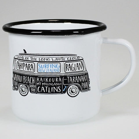 Moana Rd. - Surfing New Zealand - Enamel Mug - 10cm