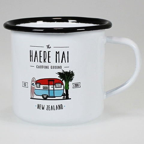 Moana Rd. - The Haere Mai Camping Ground - Enamel Mug - 12cm