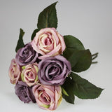 Artificial Flowers - 7 Head Rose Boquet - Purple Shades
