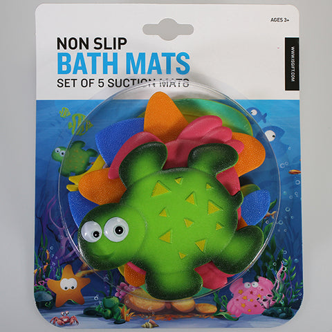 Set of 5 Non-slip Mini Bath Mats - Sea-life