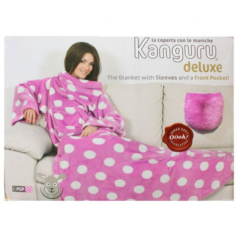 Kanguru Blanket with Sleeves and a Pouch - Pink