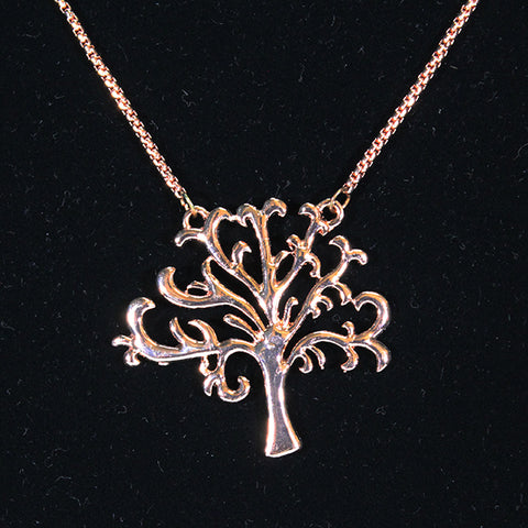 Pendant Necklace - 'Tree of Life' Silhouette - Rose Gold-look