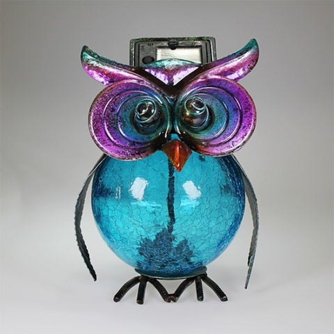 Blue Owl Sculpture with Solar Eyes