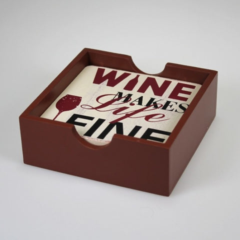 Wooden Wine Coaster Set in Wooden Box
