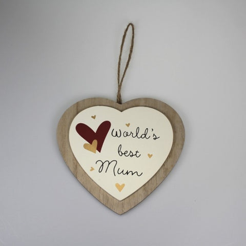 Worlds Best Mum Heart Decor