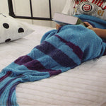 Knit Mermaid Tail Blanket for Adults - Blue Stripes