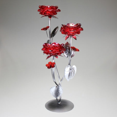 Triple Red Flower Candlestand
