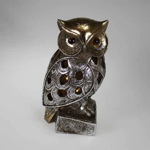 Owl on Stand with LED Lights Decor