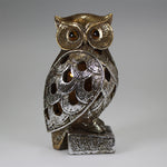 Owl on Stand with LED Lights Decor (16cm)