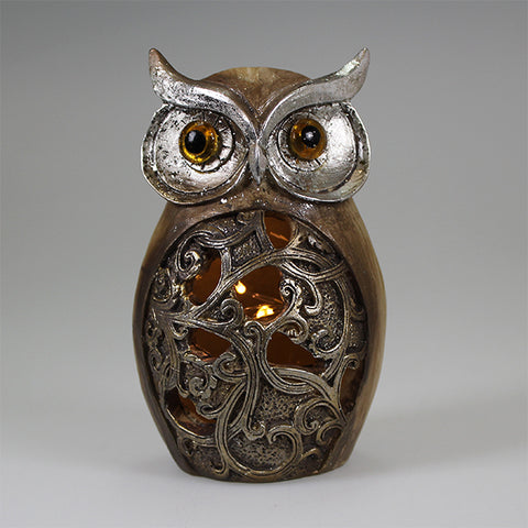 Silver Owl with LED Lights (11cm)