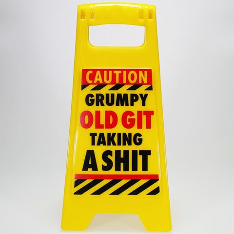 "Mini A-Frame Warning Toilet Sign - ""Grumpy Old Git..."""