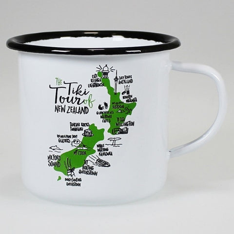 Moana Rd. - The Tiki Tour of New Zealand - Enamel Mug - 12cm