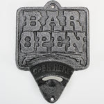 'Bar Open' Cast-Iron Wall-Mounted Bottle Opener