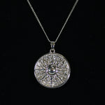 Pendant Necklace - 'Sun Shield' with Diamantes - Silver-look