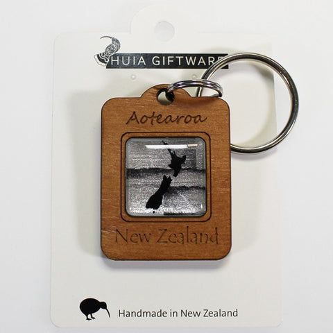 Kiwiana Wooden Keyring - New Zealand Map - Silver