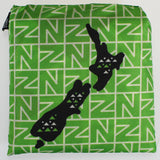 Reusable Folding Bag - Retro New Zealand Map