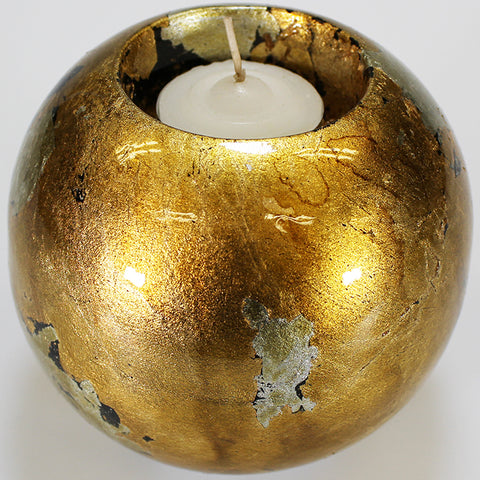 Gold Mottle Ball Candle Holder