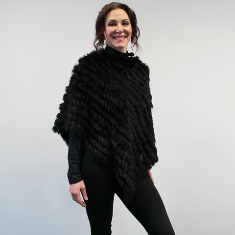Rabbit Fur Poncho - Black