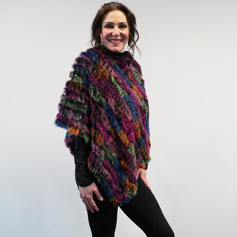 Rabbit Fur Poncho - Pink Multi