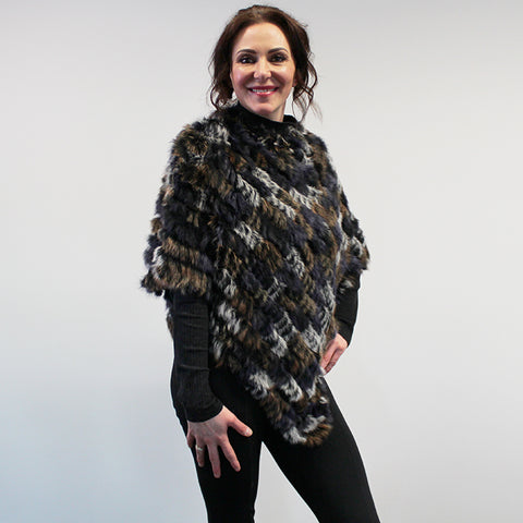 Rabbit Fur Poncho - Grey/Purple Multi
