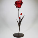 Red Glass Rose - Single Votive Candlestand