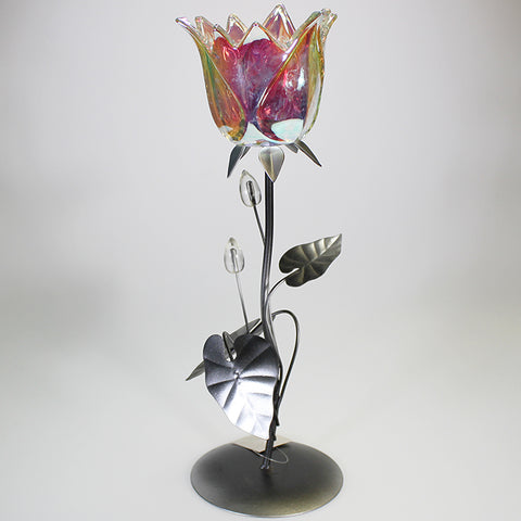 Single Iridescent Glass Flower Candlestand