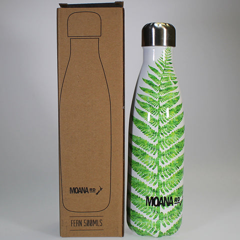 Stainless Steel Insulated Drink Bottle - Fern Motif - 500ml
