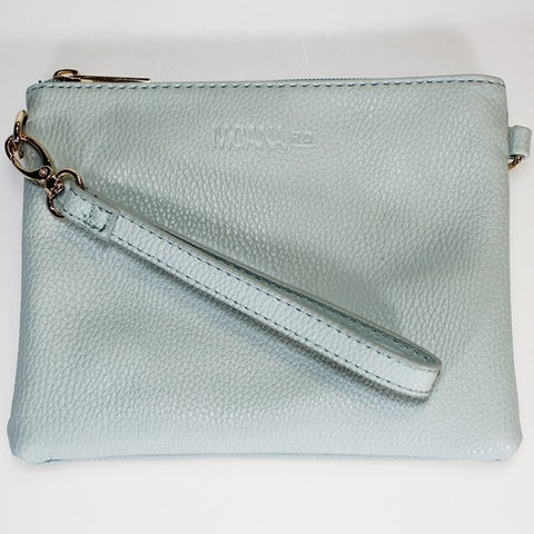 Moana Road 'Viaduct' Clutch Bag - Dusky Blue - Snakeskin Texture