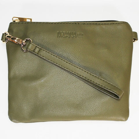 Moana Road 'Viaduct' Clutch Bag - Olive - Light Snakeskin Texture
