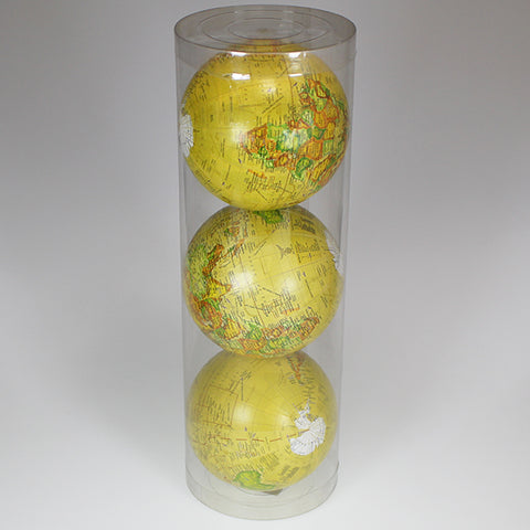 Set of 3 - Vintage-look Ball Globe Decor - Yellow - 9cm Balls