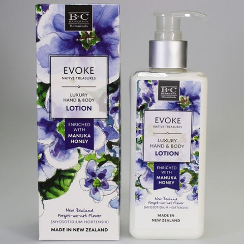 Banks & Co. EVOKE Native Treasures - Luxury Hand & Body Lotion - NZ Forget-Me-Not Flower