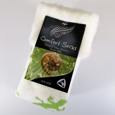 Comfort Bed Socks - White/Apple Gecko
