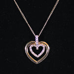 Pendant Necklace - Twin Heart with Diamante Inner - Gold-look