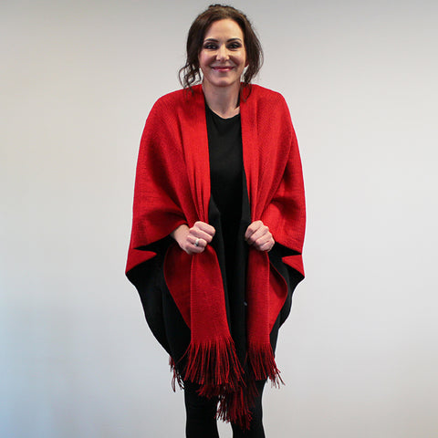 Reversible Knit Wrap with Tassels - Red and Black