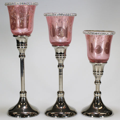 Dusky Pink Glass and Diamante Votive Candle Holders - Set of 3