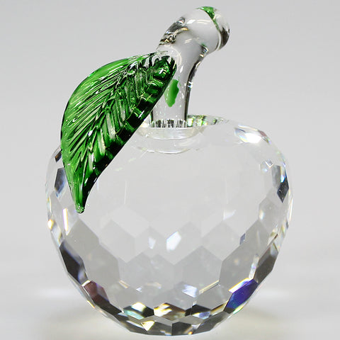 6cm Cut Glass Apple - Clear