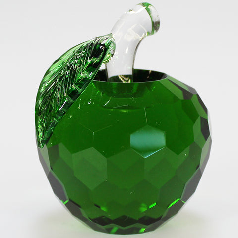 6cm Cut Glass Apple - Green