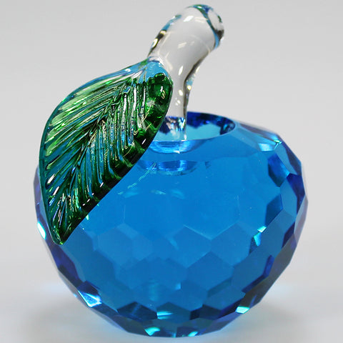 6cm Cut Glass Apple - Blue