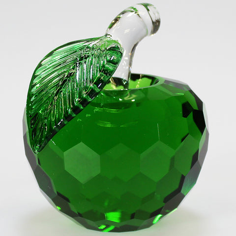 7cm Cut Glass Apple - Green