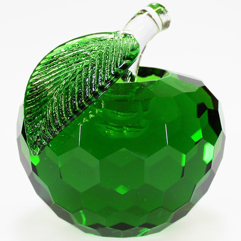 8cm Cut Glass Apple - Green