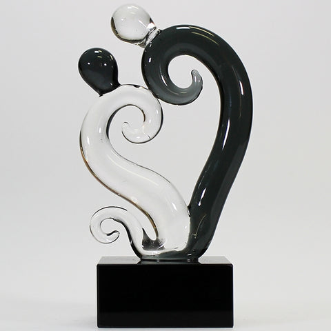 Black and Clear Glass Dancing Heart Koru Sculpture