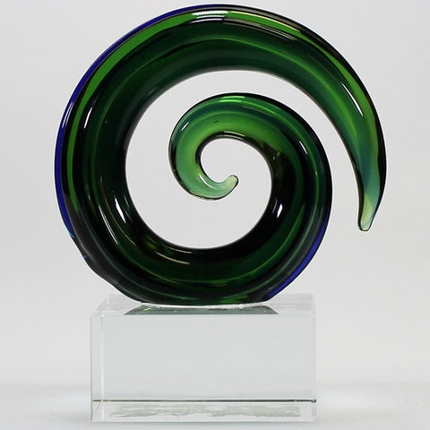 Green and Blue Glass Spiral Sculpture