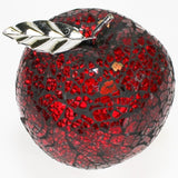 10cm Crackle-glass Red Apple with Silver-look Leaf