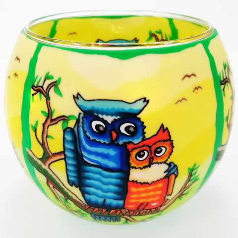 Glass Illusions 10cm Tea Light Shade - Barn Owls