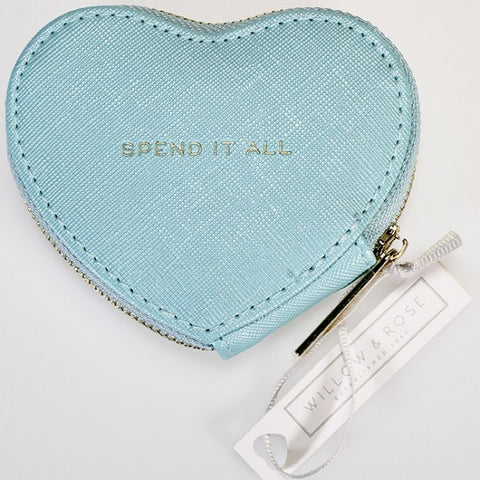 "Willow & Rose - Zippy Heart Coin Purse - ""Spend It All"" Baby Blue"