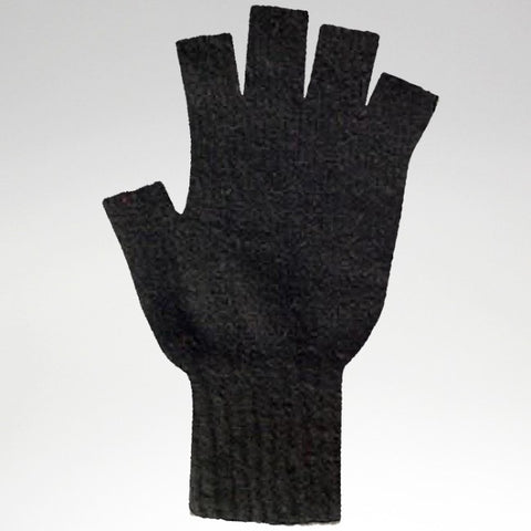 Fingerless Gloves - Black - Possum Merino - Medium