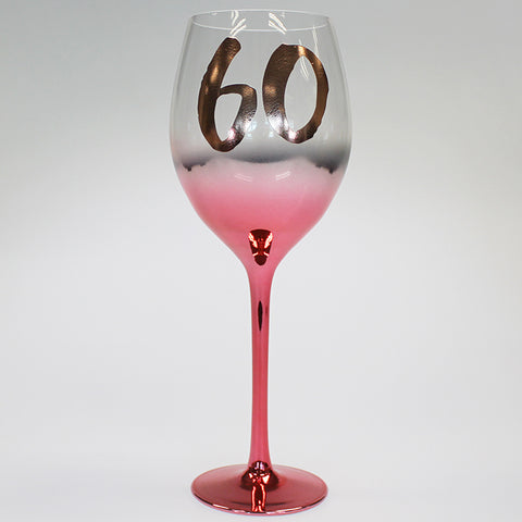 60th Blush Wine Balloon Glass