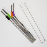 Stainless Steel Reusable Drinking Straws - 4 Pack