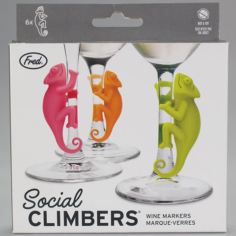 """Social Climbers"" Chameleon Wine Glass Markers"