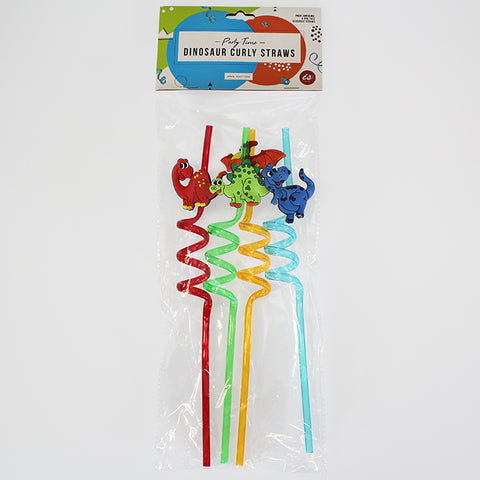 Dinosaur Curly Party Straws